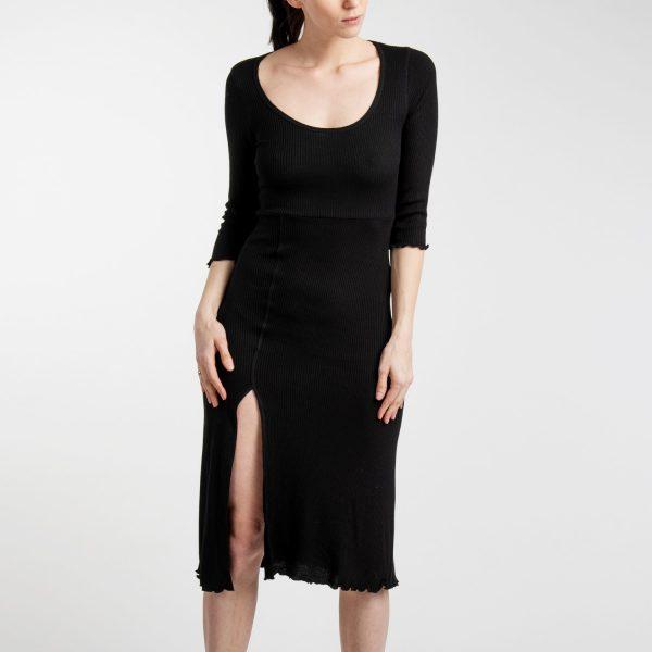 Stradivarius fekete felsliccelt ruha