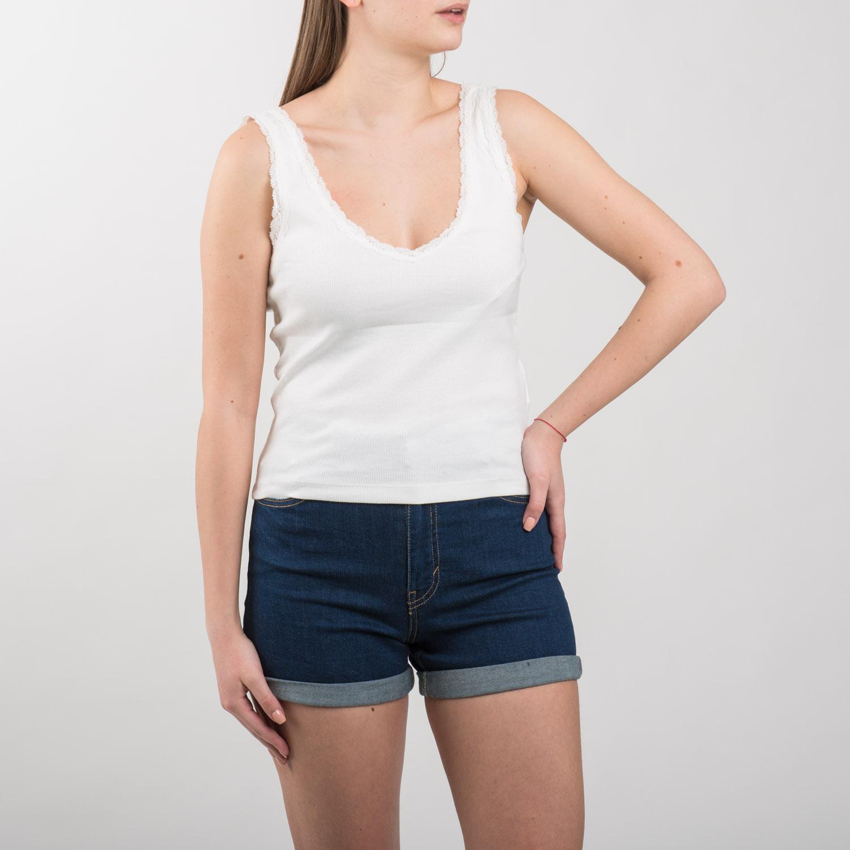 Pull&Bear fehér csipkés szélű trikó