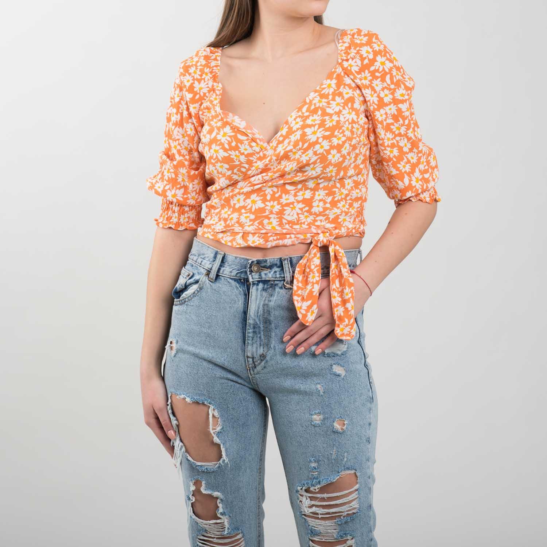 Bershka narancssárga virágos felső