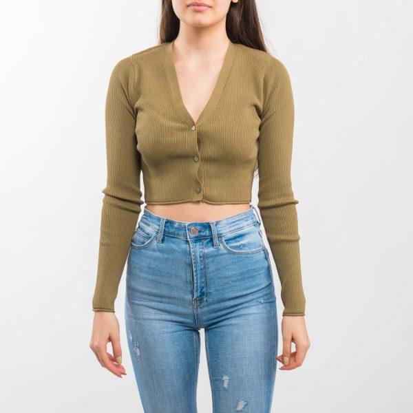 Zara olajzöld rövidített pulóver