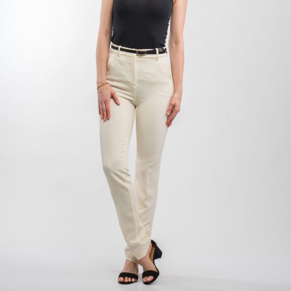 Zara krémszínű elegáns nadrág gombokkal a lábszárán