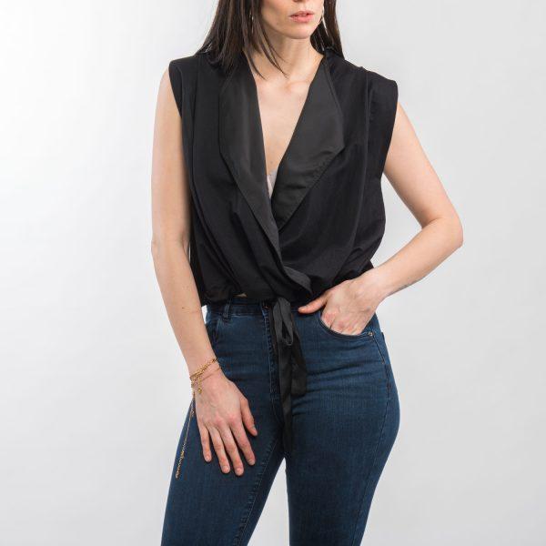 Zara fekete elegáns kötős felső