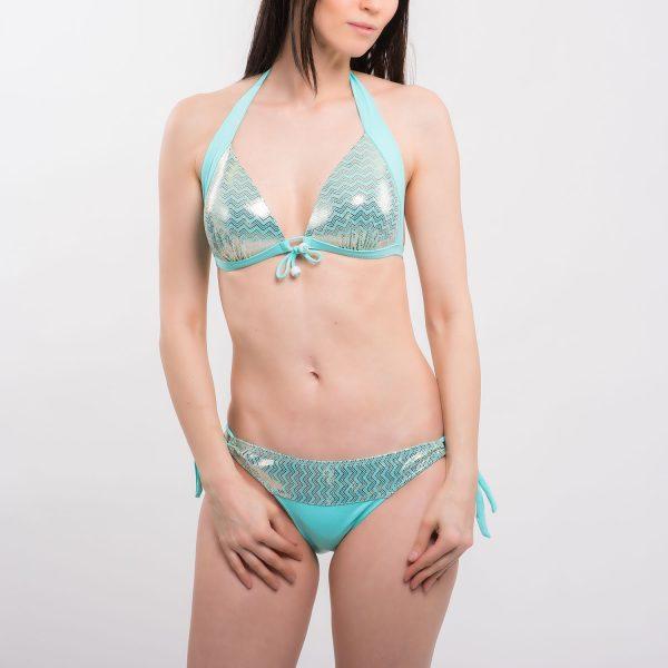 Sea menta-arany mintás bikini