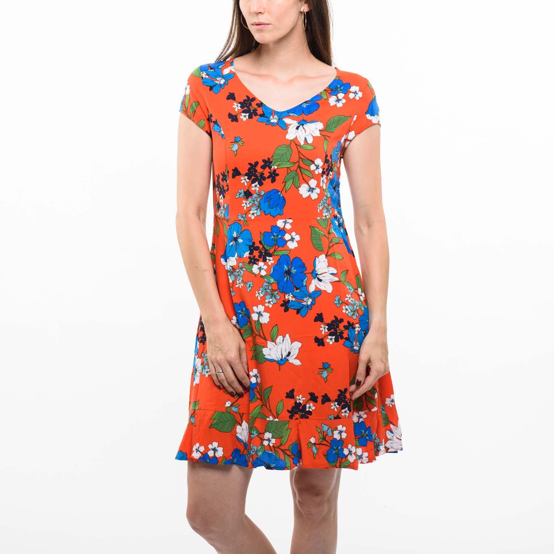 Smashed Lemon piros virágos ruha