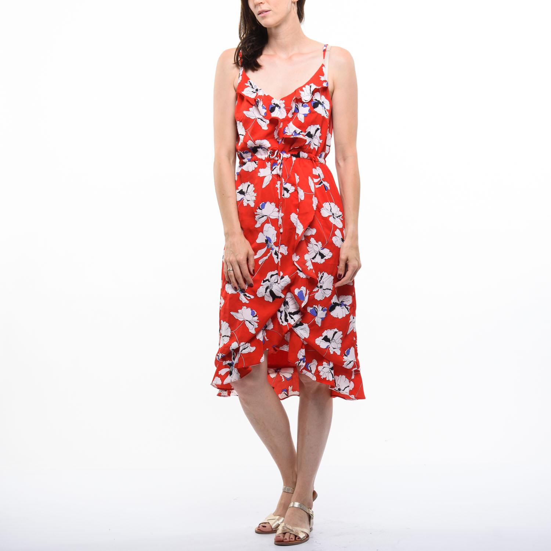Smashed Lemon piros, virágos ruha