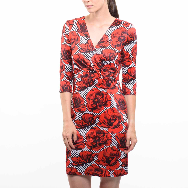 Smashed Lemon virágos piros ruha