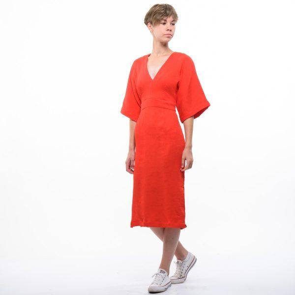 H&M női piros bordázott ruha