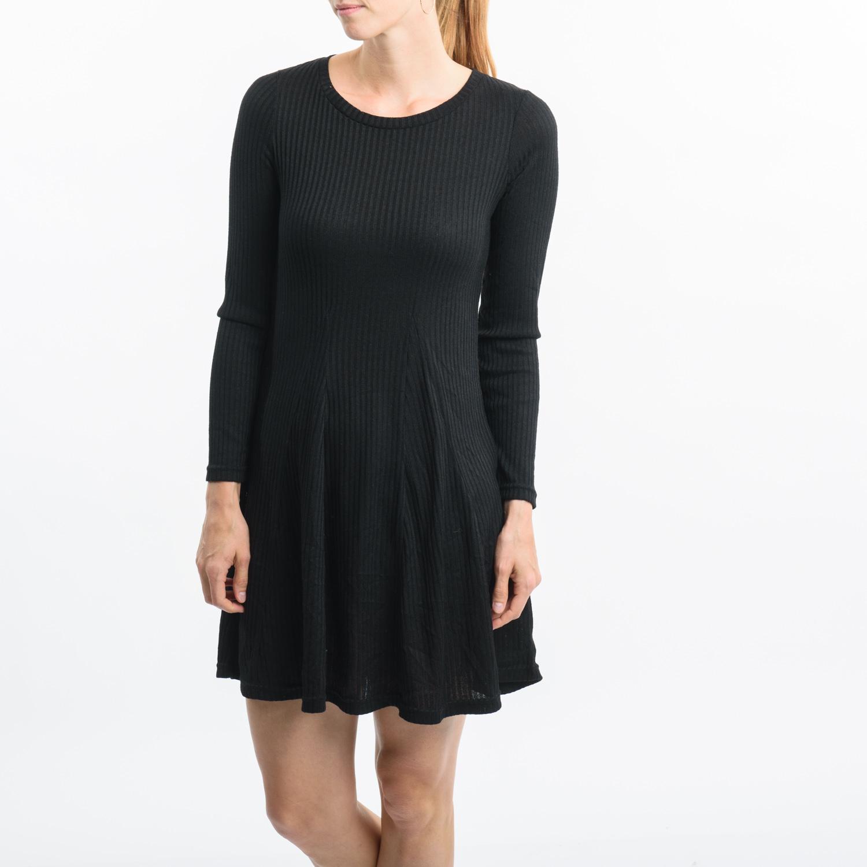 CUBUS fekete bordázott ruha