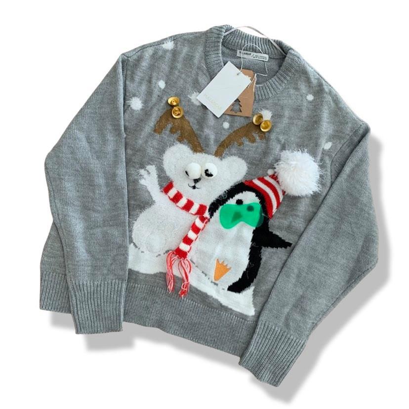 Pull&Bear karácsonyi szürke pulóver